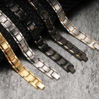Svart magnetiskt armband Rostfritt stål Energi Germaniummagnet Hälsa Män Handkedjan Armband för kvinnor