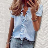 Daisy Summer Blusa Mulheres Camisas de manga curta Blusa Elegante Ruffle Moda V pescoço Womens Tops e blusa Túnica Nova 200923