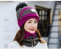 겨울 HatScarfMask 세트에 대한 여성 여자 비니 스카프 기억할만한 니트 모자와 스카프 마스크를 호흡 따뜻하게