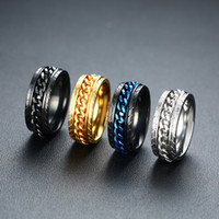 Punk 8mm spinner cadeia homens anel rotativo azul azul aço inoxidável rotativo jóias jóias presente anel aliança
