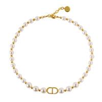 Женское жемчужное ожерелье с салонами Белые бусины из нержавеющей стали Ювелирные изделия из нержавеющей стали с позолоченным элегантным камениром