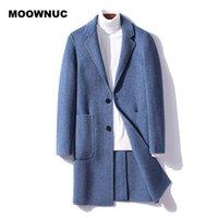 Мужские шерстяные сочетания Moowuc Men 2021 зимнее шерстяное пальто сплошной цвет Высококачественная куртка стройная длинная траншея мода бренда