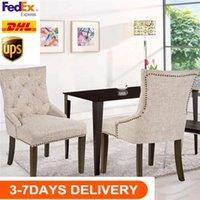US-Aktien 3-5 Tage Verschiffen-Qualitäts-Restaurants Stuhl mit Armlehne, Nailhead Trim, Leinen Polster 2er-Set (beige) WF010762AAA