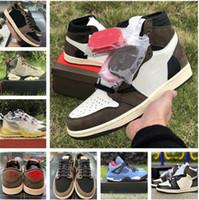 2020 di alta qualità Travis X 1S alta OG TS SP 1 Scarpe uomini bassi 6S pallacanestro Sail scuro Mocha Università 4S esterna con la scatola delle scarpe da tennis