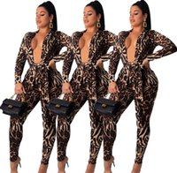 Nightclub Wear Women Leopard Print Two Piece Sets Fashion Lady's Sexy Deep V-Neck Lace-Up Coats High Waist Pencil Pants Sets Two Pieces