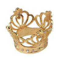 1 PC de la aleación con corona de diamantes Anillo de servilleta hecha a mano exquisita de la servilleta titular de la hebilla de la boda del hotel Fiesta Tabla Decoratio