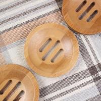 Rodada Soap Bamboo Dish Environmentally Friendly bambu natural Handmade Soap Box Mini Banho Sabão Titular 8,2 * 1,3 centímetros LX2705