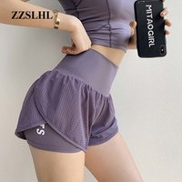 Frauen Mesh-Yoga Shorts Sommer High Waist Laufhose Quick Dry Gym lose Wide Leg Fitness Gym Kleidung
