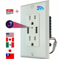 Hidden micro monitor nanny camera WiFi AC wall socket with 32G memory card for remote viewing