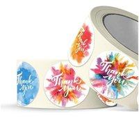 شكرا ملصقات جولة الذاتي لاصق ملصق المائية الزهور الأصالة تسمية البسيطة التمويه هدية مغلف ختم عيد ميلاد 4SH F2