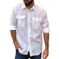 جيب البضائع SHRITS الربيع مصمم التلبيب الرقبة الصلبة لون قميص الذكور كم طويل بلايز رجل مزدوج