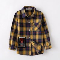 2020 spring summer Cotton Full Sleeve Fashion Plaid Boys Shirt 2T-14T Casual Big Kid Clothes Coat