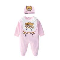 Niños diseñador ropa muchachos letra mono jumpsuit recién nacido mameluco bebé infantil niño pequeño sombrero + babero + conjunto de ropa de bebé para bebés de lujo ropa de diseñador