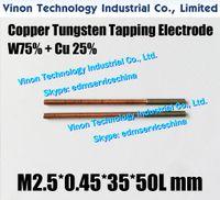 (5PCS ПАК) M2.5 * 0,45 * 35L * 50Lmm Медь вольфрама Орбитальный Выявляющий электрода CuW75, EDM W75 вольфрама медный электрод с резьбой М2.5, шаг 0,45
