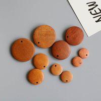 20pcs 15/20 / 30 millimetri legno naturale Flat Round Beads orecchino di pendente per monili che fanno i risultati del braccialetto dell'orecchino Donne Accessori fai da te
