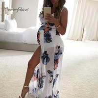 Pregnancy Maxi Dress Chiffon Maternity Sleeveless Sexy Ruffl...