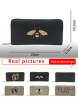 Новая пчела Tiger Coral Snake Printed Premium Faux Cavated Canvas полный накладной бумажник черный серый напечатанный длинный кошелек G451273