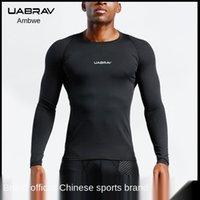 T-shirt all'aperto UABRAV fitness uomo per il tempo libero sportivo sportivo da pallacanestro formazione a maniche lunghe maglietta a maniche lunghe e asciugatura rapida