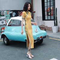 Oriental style rétro à carreaux cheongsam Chine Robes longues Qi Pao femmes chinoises Vêtement traditionnel Robe Daily qipao Orientale