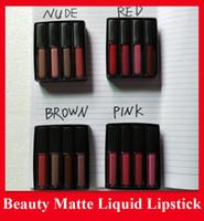2020 Liquid Lipstick Kit desnuda El Rojo Rosa Marrón Edición Mini líquido Barra de labios mate 4pcs / set (4 x 1,9 ml)