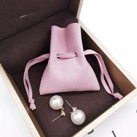 Шнурком Сумки Ювелирные упаковки сумки Фавор Свадьба Рождество подарочные пакеты Pink Suede ожерелье сумка аксессуары