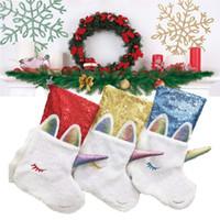 43cm 긴 크리스마스 스타킹 만화 유니콘 선물 가방 창고 크리스마스 모피 양말 장식 조각 스팽글 패치 워크 크리스마스 트리 홈 DecorsE9301 매달려