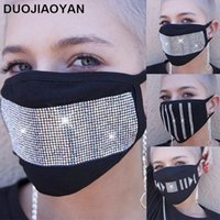 vente chaude masque antipoussière coton strass diamant flash noir étoile adulte femme logo personnalisé tache gros OWB1198