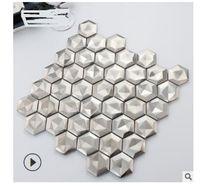 2020 venta caliente de acero inoxidable superficie de dibujo sólido hexagonal metal blanco azulejo de mosaico KTV fondo w