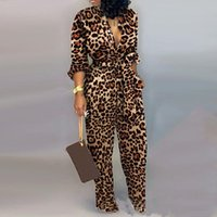 Sexy Leopard Imprimir Jumpsuit Profundo V Neck Mulheres Manga Longa Sashes Romper Abaixe os Macacões Collar Calças de Lápis Outfits 2019 T200808
