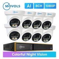 Movols 1080P 화려한 야간 비전 감시 시스템 방수 야외 CCTV 키트 8ch DVR 풀 타임 컬러 보안 카메라 세트