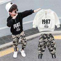 2PC Crianças Big Boys Roupa Militar Vestuário Define Jovens Boy Top + Calças Roupas Ternos Crianças camuflagem Fatos para 3-12t