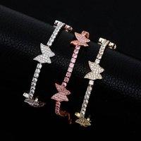 Go partito caldo di vendita catena rosa Piccolo pendente della farfalla braccialetto di caviglia del piede diamante braccialetto alla caviglia per le donne