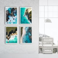 Ocean Waves Blue costal Wall Poster Sea Beach Landscape Canv...