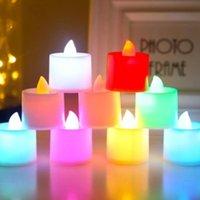 مصابيح عيد جميع القديسين الشموع 8 ألوان LED بطارية تعمل الشموع عديمة اللهب الخفقان التعشيب عيد ميلاد الحزب الديكور الإضاءة OWF1019