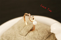 European Gold Plated Letter D Ring Fashion Pearl oRing Vintage Charms Rings for Wedding Party Vintage Finger Ring Costume Jewelry love lring