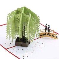 3D El yapımı Söğüt Ağacı Sahne Hollow Heykel doğum günü kartları, yılbaşı kartları için kart doğum günü hediyesi Uygun Tebrik kadar,