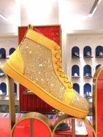 Baskets jaunes avec Strass Luxuriou Red Bottom Sneaker Chaussures Haut Top Hommes, Femmes Robe de haute qualité, Parti, Skateboard de mariage Marche EU35-47