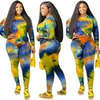 Frauen Trainingsanzüge Plus Size Frauen Gedruckte Outfits Frühling Herbst 2021 Ankunfts-T-Shirt mit langen Ärmeln + Skinny Pants Tie-Dye Real Image