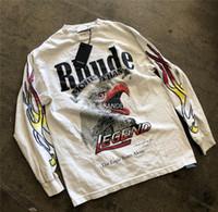 1 Yüksek Kalite Uzun Kollu RHUDE Maxfield LA Tişörtlü RHUDE tişört T200420 x: RHUDE Maxfield LA OVERSIZE tişört Erkekler Kadınlar 1 x