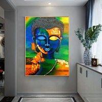 Cuadro par Pared sobre lienzo de Buda abstracto, pósteres e impresiones, pintura al óleo moderna de Buda en la Pared, POSTER Budista,