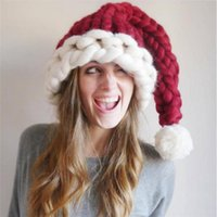Christmas Hat Santa Claus Hats Children Kids Adult Soft Woolen Knitting Hats With Ball 4 Colors Christmas Decoration Gifts BH4027 DBC
