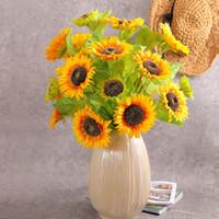 80CM جودة عالية زهرة عباد الشمس الاصطناعية الزهور باقة الأصفر الحرير فرع الرئيسية حفل زفاف ديكور التصوير الدعائم إناء بالترتيب