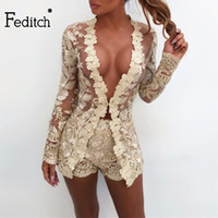 Feditch New Moda Bordados 2 Piece Set Mulheres Lace oco Out 2 Vestidos Pieces Define Moda Nightclub Wear BODYCON Outfits