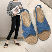 Sandals women's 2020 summer new flat bottom straw weave cross broadband elastic set foot suede all kinds of chaussure ete femme