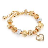 Or cristal d'amour Charms pour Pandora Bracelets Femmes Mode Bijoux Saint-Valentin cadeau