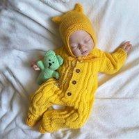 Kinderkleidung Säuglingsbaby Strampler Einteiliges Langarm Pullover Hut Button Pullover Zwei Stücke Set Herbst Winter Jungen Mädchen Kleidung 2020D82407