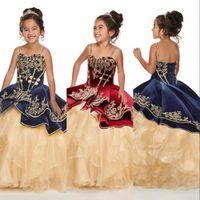 2021 Lakiernia Navy Blue Burgundii Dziewczyny Korant Suknie Haft Koronki Bez Rękawów Księżniczka Gorset Powrót Dzieci Kwiat Girl Dress Urodziny Suknie Spaghetti Paski