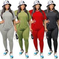 Taille Plus solide Femmes Survêtements 2020 Nouveau Eté Automne manches courtes T-shirt et pantalon de sport Clubwear Deux Set Pieces réel