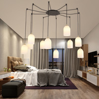 Artpad Nordic DIY LED Chandelier Lamp Preto braço longo cabo da lâmpada para sala de estar Quarto Quarto Interior Decoration Aranha Lighting