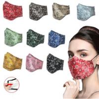 2020 NUEVA manera respirador algodón impreso polvo mascarilla diseño se puede lavar con agua y se inserta con filtros cara máscaras OWA859